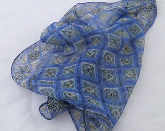 Unique vintage boho scarf, 1960s fashion, Indian cotton, head scarves, blue scarves, hippie