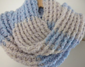 Crochet Scarf Multi Color Blue Purple Off White  Scarf Infinity Crochet Chunky Thick Neckwarmer with Buttons