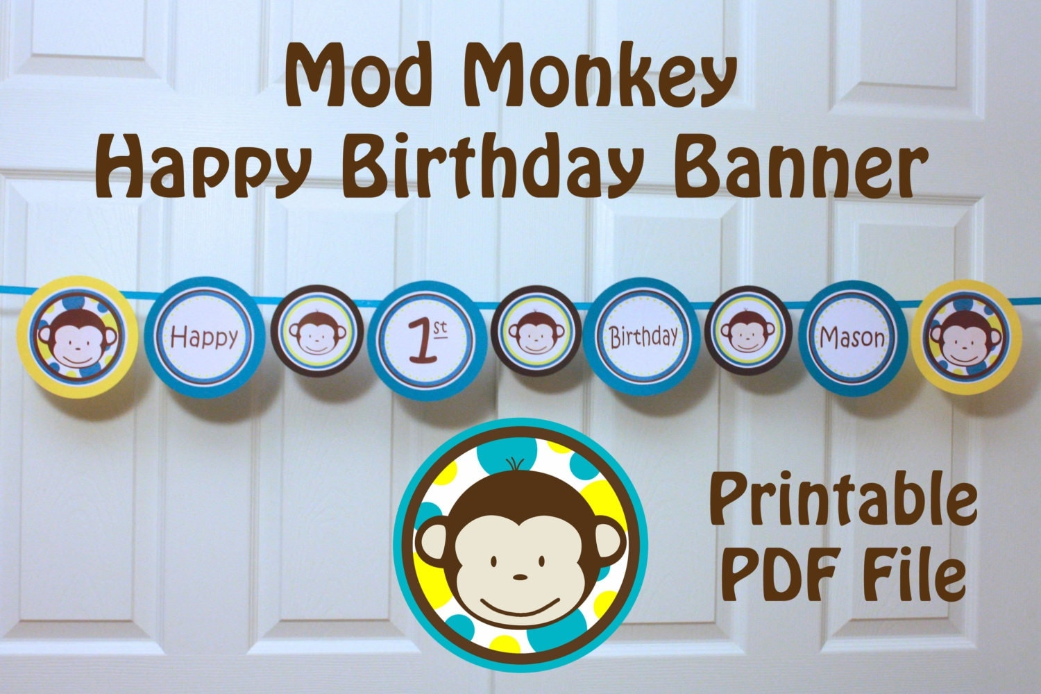 mod monkey banner happy 1st birthday banner with name. Black Bedroom Furniture Sets. Home Design Ideas