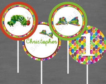 The Very Hungry Caterpillar Birthday Cupcake Toppers--Custom Printable