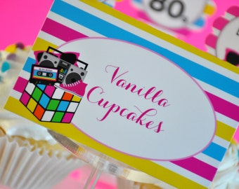 INSTANT DOWNLOAD, I Love The 80s  Folded Tent Cards, 80's Gift Tags, 80's Place settings, 80's Party Supplies, Printable
