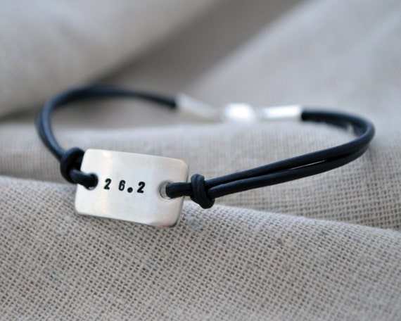 Silver Marathon Bracelet - Gifts for Runners - Hand Stamped - Personalize