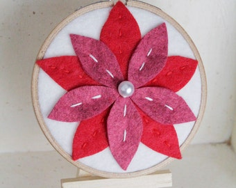 Red and Pink Flower Embroidery Hoop Art by Catshy Crafts