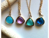 Ocean Sea Glass Charm Necklace - ocean glass, sea glass, glass, beach jewelry, ocean jewelry, hawaii, kauai