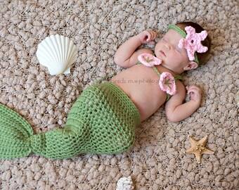 Crochet Baby Girl Mermaid Set, Crochet Mermaid Photo Prop, Size Newborn, Infant, Toddler - Tea Leaf and Soft Pink