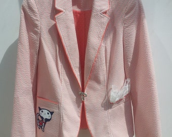 OOAK Custom Pink & White Candy Stripe Jacket with Skeletal Cat and Lace Detail Goth Alternative Lolita