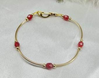 14k Gold Bracelet Ruby Bracelet Crystal Bracelet Dainty Bracelet 14k Gold Filled Bracelet Stackable Bracelet Gift For Her BuyAny3+1Free