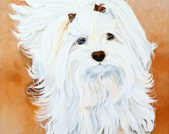 Custom pet portrait 10x14 painted on canvas from your photo, dog cat painting