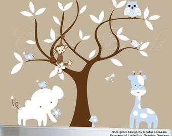 Children's wall decals owl jungle decals - 0218