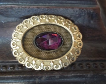 Victorian Brass and Purple Stone Brooch