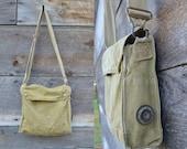 Vintage WWI Satchel Coal Miners Canvas Work Wear Shoulder Bag