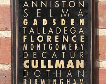 Alabama Cities of Alabama Antiqued Vintage Style, Custom Color, Wall Art, Home Decor, Gift Present, AL, Transit Subway Scroll, Birmingham