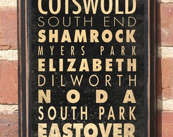 Charlotte NC Neighborhood Wall Art Sign Plaque Gift Present Vintage Style Queen City Myers Park Elizabeth Shamrock Eastover Dilworth Antique