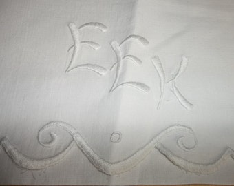 "VICTORIAN  Era  Pure Linen Pillow Cover Hand Embroidery...Monogram..""EEK""Perfect Condition"