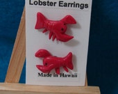 Red Lobster Polymer Earrings, Post, Surgical Steel, Kawaii, Super Nice, Hawaii