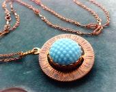 Vintage Glass Cabochons on Spinner- Vintage Copper Color Chain- ON SALE