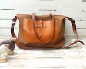 UNİSEX Brown Weekender Bag  - Leather Single Strap Shoulder bag / Tote Bag / Diaper Bag