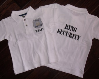 Boutique Ring or Crown Bearer Security Wedding Polo Shirt with name.  Sizes 12M to 14 Youth Short Sleeves