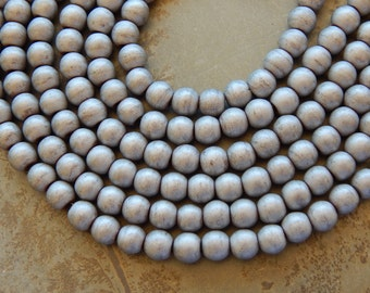 8mm Non-Magnetic Matte Grey Large Hole Hematite Beads, 50 PC (INDOC80)