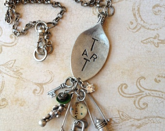 Industrial Chic Art-i-cake Spoon Mixed Media Altered Art Steampunk Charm Necklace Jewelry