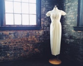 1980s - 1990s Rose Taft white dress with gathered bodice and sweetheart neckline // wedding dress // size small