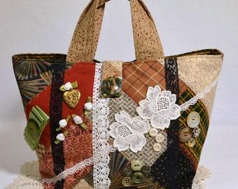 Unique Small Crazy Quilt Fabric Handbag Purse Handmade