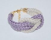 Nautical Knot Bracelet, Cotton Rope Bracelet, Eco-fridendly Bracelet, Amethyst Cotton Rope Bracelet, Amethyst, Linen