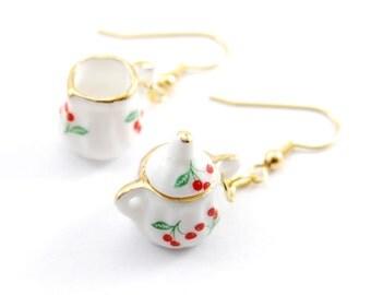 Tea Set Earrings, Cream and Sugar Earrings, Teapot Jewelry