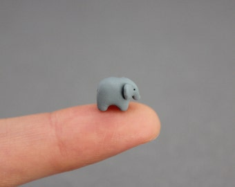 tiny elephant figurine extra small polymer clay elephant totem miniature