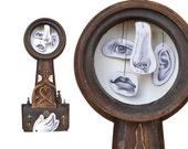 "assemblage art, mixed media original, abstract portrait The INNOVATOR 18.5"" tall, by Elizabeth Rosen"