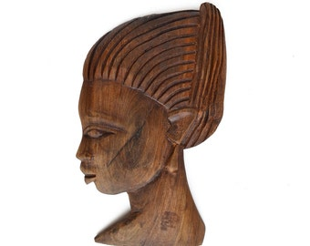 vintage folk art wood carving of young African girl woman  from Elizabeth Rosen