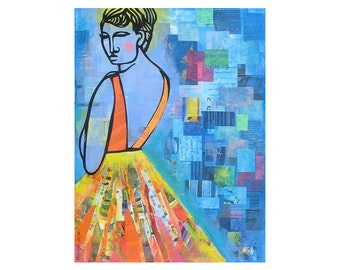 Woman in a Backless Dress BIG 18x24 ORIGINAL PAINTING original collage   by Elizabeth Rosen