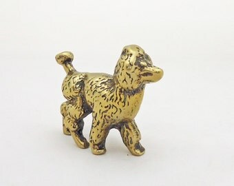 Vintage Solid Brass Poodle Figurine, UK Seller