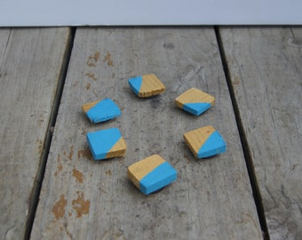 Reclaimed wood magnets  Set of 6 - Hand Painted turquoise gold
