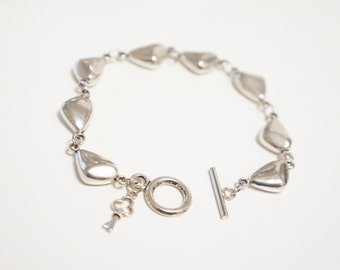 Silver Pebble Bracelet Link Bracelet with Toggle Clasp