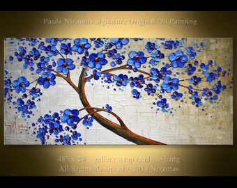 "Original 48"" x 24""  Abstract  Modern Blue Blooming Tree  Painting Heavy Palette Knife Extra Thick texture by Paula"