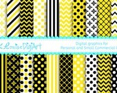 20 Digital Papers Yellow and Black Patterned Backgrounds for Personal and Small Commercial Use a142
