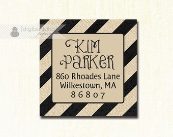 "Black & Beige Striped Address Labels Stickers 1.25"" Square Printable Chalkboard Return Address Labels DIY Digital or Printed - Kim Syle"