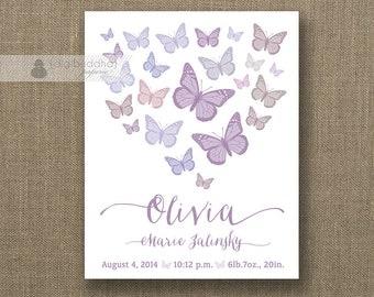 Purple Butterflies Birth Announcement 8x10 Poster Baby Girl Birth Art Print Lilac Lavender Script DIY Printable Digital- Olivia