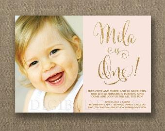 Blush Pink & Gold Birthday Invitation Photo Girl Glitter Pastel Script First 1st Shabby Chic FREE PRIORITY SHIPPING or DiY Printable - Mila
