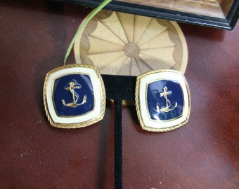 Navy Ancor Earrings