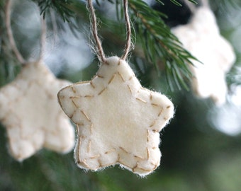 Small Star Felt Ornament, Set of 8, Ivory Felt, Hand-Stitched, Hand Cut