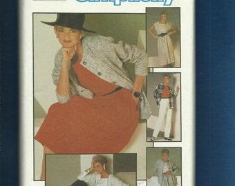 Vintage 1984 Simplicity 6744 Asymmetrical Buttons Square Neck Top Loose Fitting Jacket Skirt & Pants Size 20 UNCUT