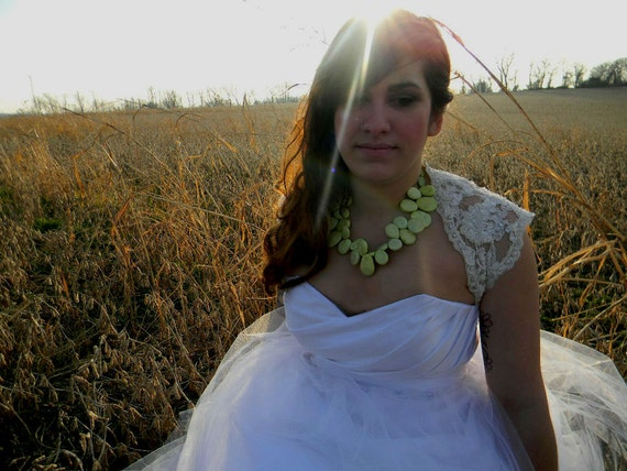 Handbeaded Chunky Jade Necklace Wedding Sundance style jewelry