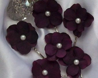 Bridal Sale,Hair Flower,Bridal Hair Flowe,Eggplant Hair Flower,Bridal Hair Flower,Bridal Accessory,Eggplant wedding Plum