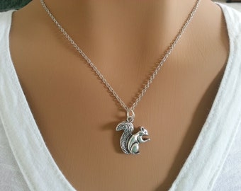 Antique silver Squirrel Necklace