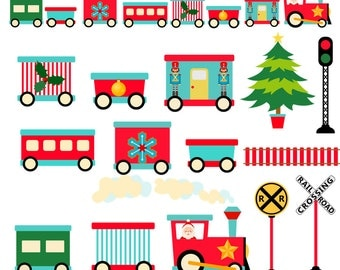 Christmas Clipart, Train Clipart, Christmas train, Instant download