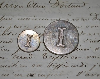 Vintage Decorative buttons with Initial I, Antique Victorian buttons, pretty Downton Abbey style, vintage supplies