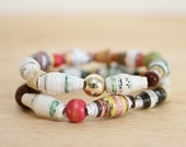 Book Bracelet, Made With Recycled Paper Beads, Fairytale Jewelry, Teacher Gift,