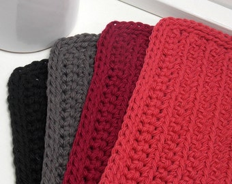 Crochet Dishcloths, Handmade Dishcloths, Crochet Cotton Dishcloths in Black, Charcoal, Burgundy & Berry - Set of 4